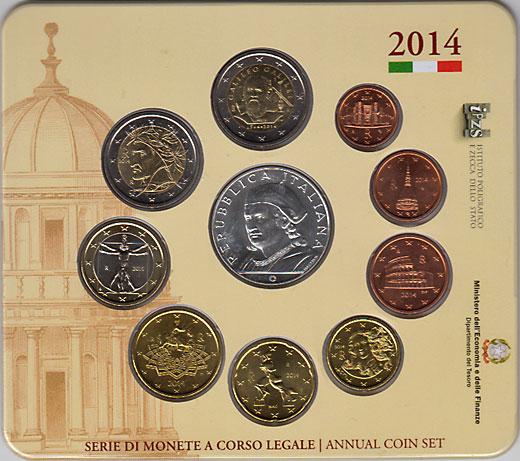 イタリア 2014年 ユーロ9種 + ブラマンテ死去500年 5ユーロ銀貨 ミントセット