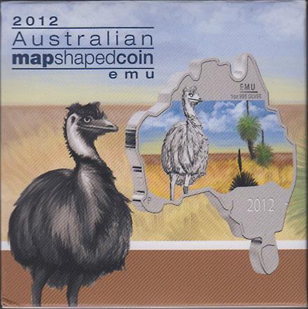 オーストラリア 2012 同国地図型1ドル銀貨 エミュー Proof 箱・証明書付き