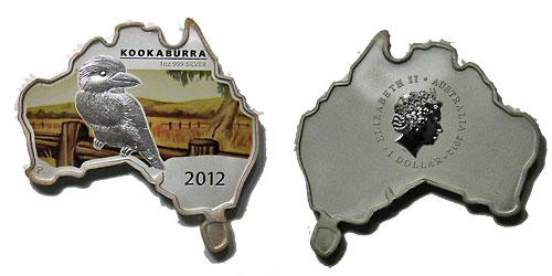 オーストラリア 2012 同国地図型1ドル銀貨 ワライカワセミ Proof 箱・証明書付き