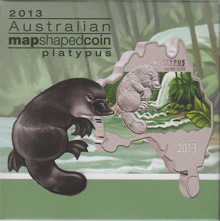 オーストラリア 2013 同国地図型1ドル銀貨 カモノハシ Proof 箱・証明書付き