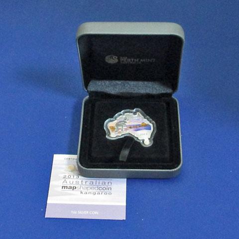 オーストラリア 2013 同国地図型1ドル銀貨 カンガルー Proof 箱・証明書付き