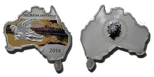 オーストラリア 2014 同国地図型1ドル銀貨 クロコダイル Proof 箱・証明書付き