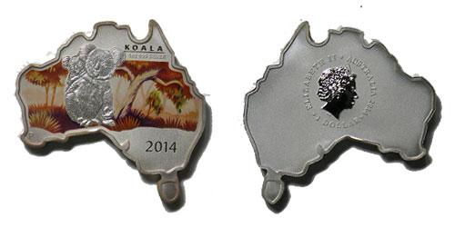 オーストラリア 2014 同国地図型1ドル銀貨 コアラ Proof 箱・証明書付き