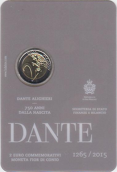 サンマリノ 2015 ダンテ生誕750年  2ユーロセット