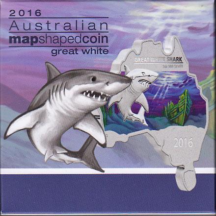 オーストラリア 2016 同国地図型1ドル銀貨 ホホジロザメ Proof 箱・証明書付き