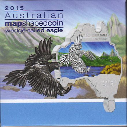 オーストラリア 2015 同国地図型1ドル銀貨 オナガイヌワシ Proof 箱・証明書付き