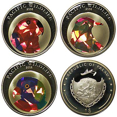 パラオ 2006 1ドル・カラー白銅貨 プリズムコイン 3種セット Proof