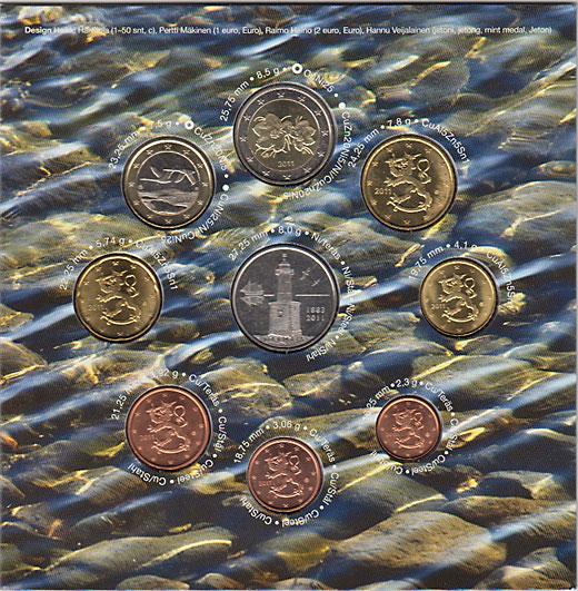 フィンランド 2011年 ユーロ8種セット + 灯台メダル