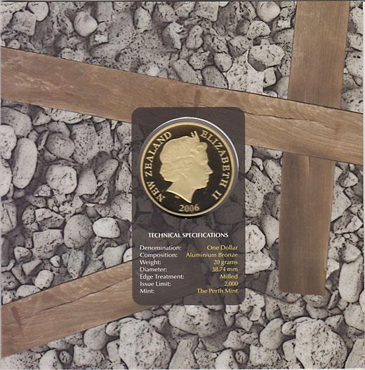 ニュージーランド 2006 ゴールドラッシュ 1ドルアルミ銅貨 UNC