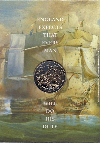 イギリス 2005 トラファルガーの海戦200年 5ポンド白銅貨 2種ミントセット