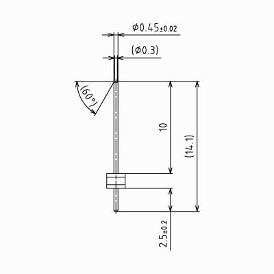 ピンヘッダーSS【STDPH-C-SS045-R178-A-PA25】φ0.45 1.78mmピッチ(1パック5個入り)