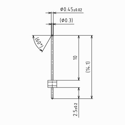 ピンヘッダーSS【STDPH-C-SS045-R534-A-PA9】φ0.45 5.34mmピッチ(1パック5個入り)