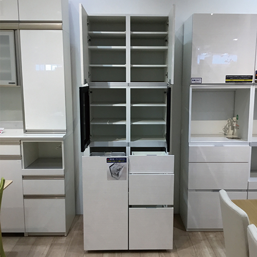 【162,600円より21%引】食器棚(ゴミ箱フォルダー付き) ベルモンド80 ホワイト/南船橋店展示品