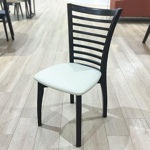 【79,600円より22%引】椅子4脚セット SI  座面PVC アイボリー/木部ダークブラウン/南船橋店展示品