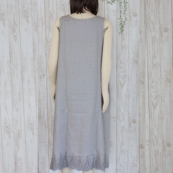 【セール】リネンカットワークノースリーブワンピース(chouchou de maman)【ナチュラル服】