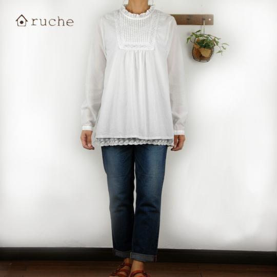 【セール】綿ローンピンタックフリル丸首チュニックブラウス(ruche)【ナチュラル服】