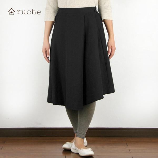 【セール】コットンオックス巻きスカート風フレアースカート(ruche)【ナチュラル服】