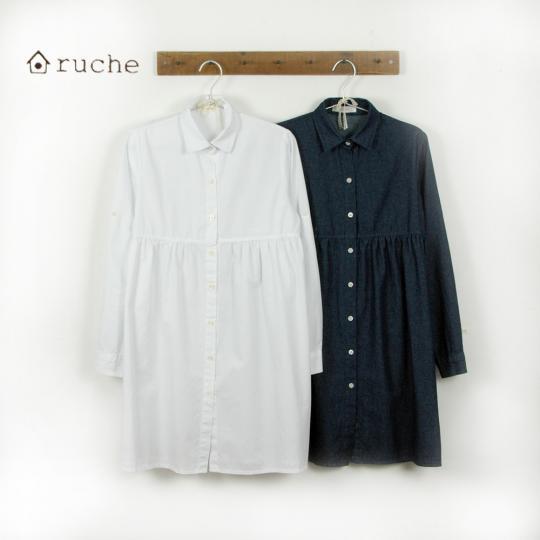 【セール】ふんわりギャザーシャツワンピース(ruche)【ナチュラル服】