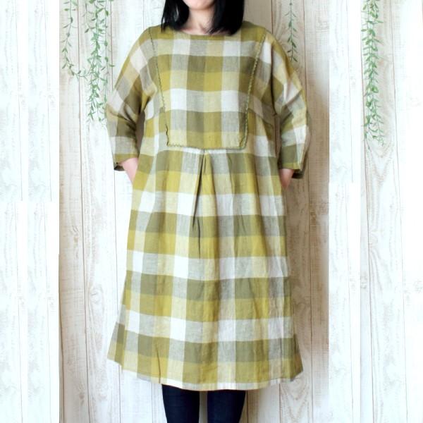 【セール】リネンコットンチェックカットワーク刺繍ワンピース(peniphass)【ナチュラル服】