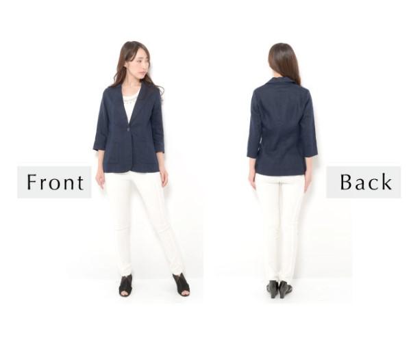 【セールお買い得!】一着あると便利!フレンチリネンテーラードジャケット【ナチュラル服】