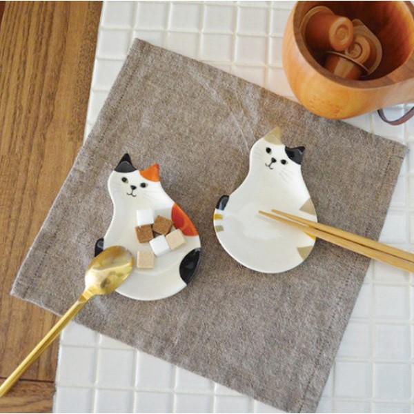 猫の豆小皿(ミケ&シマ)2枚セット