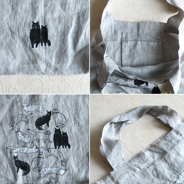 【セール】ネコのリネントートバッグ(ui by oniontree)【ナチュラル服】