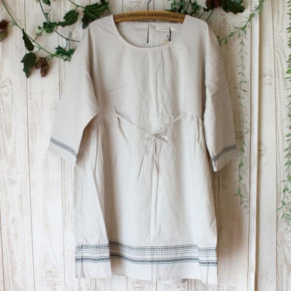 【セール】刺繍ドビーチュニック(ATELIER EQUAL)【ナチュラル服】