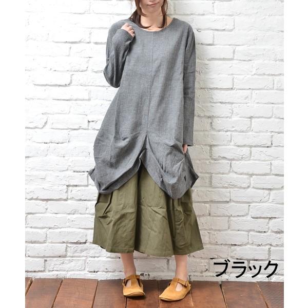 【セール】変形ヘムコットンワンピース(cutleries)【ナチュラル服】