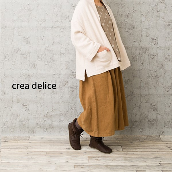 【セール】リネン起毛タックワイドパンツ(crea delice)【ナチュラル服】