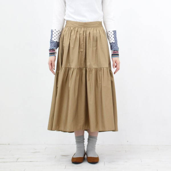 【セール】ギャザー切替ロングスカート(RIMLAND)【ナチュラル服】