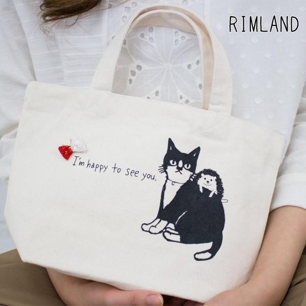【新着】ネコとハリネズミのトートバッグ(RIMLAND)【ナチュラル服】