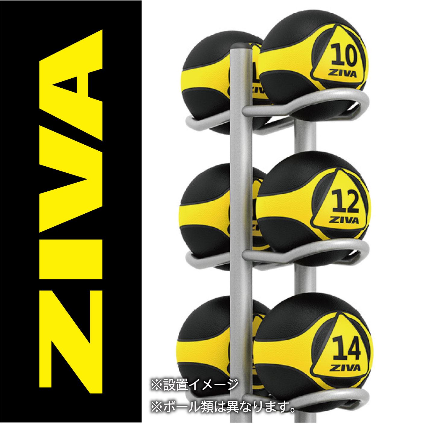 デュアルグリップメディシンボール10個+10マルチボールツリー/ボールラックセット(3kg-10kg)/メディシンボール・ラックセット〈業務用〉《ZIVA(ジーヴァ)》