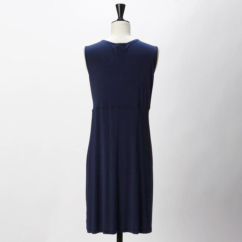 【DRESS 7月号掲載】【HERS 4月号掲載】センタードレープドレス ネイビー