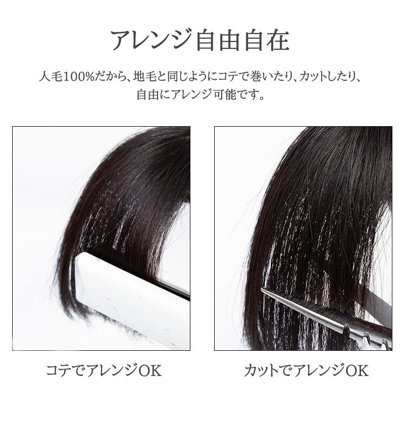 人毛100% 3D 前髪ウィッグ 部分ウィッグ 人毛 ウィッグ 私元気 BHA335 [10519]