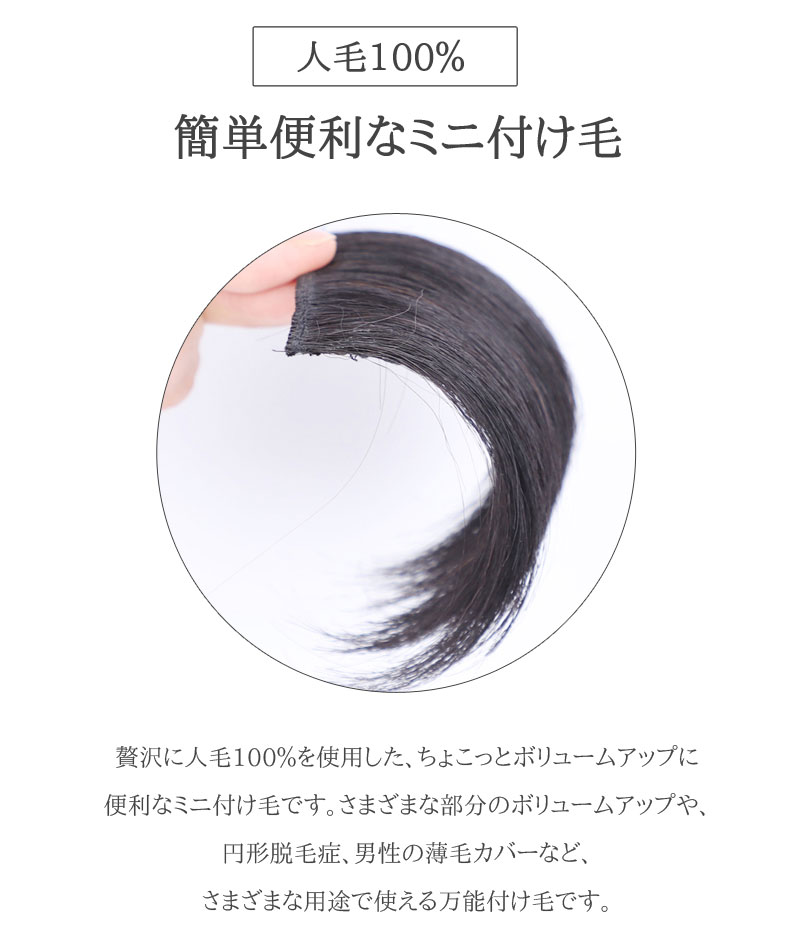 ミニつけ毛 人毛100% SS【2個セット】増毛 ポイントウィッグ 私元気 MINI5 [10520]