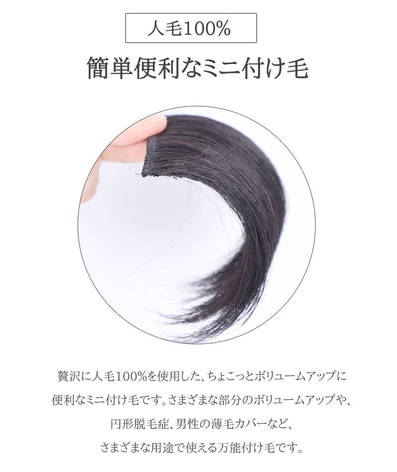 ミニつけ毛 人毛100% M【2個セット】増毛 ポイントウィッグ 私元気 MINI9 [10522]