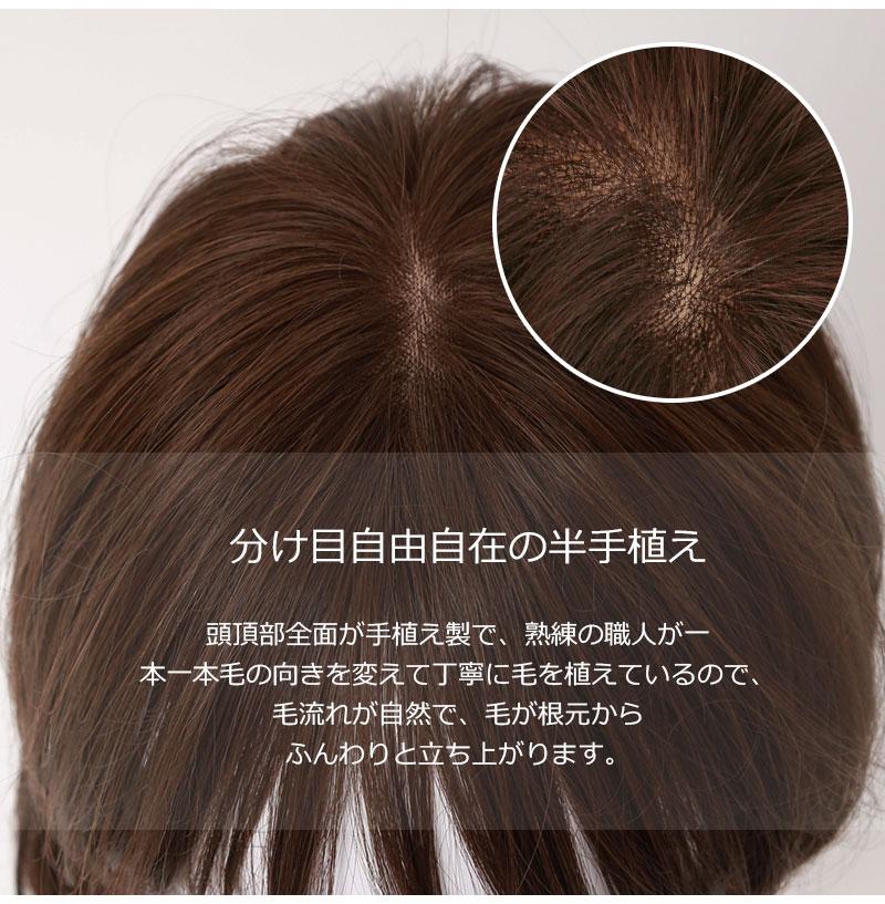 人毛 ミックス 半手植え 医療用 ウィッグ セミロング ロング  【送料無料】JH30M17C9[10441]