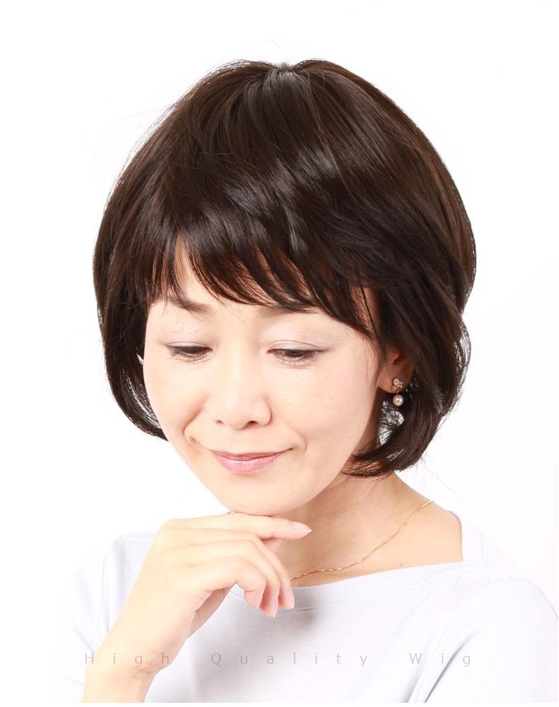 人毛 医療用 ウィッグ ショート ボブ 女性 かつら フルウィッグ ミセス 私元気 IC2042KH[10665]