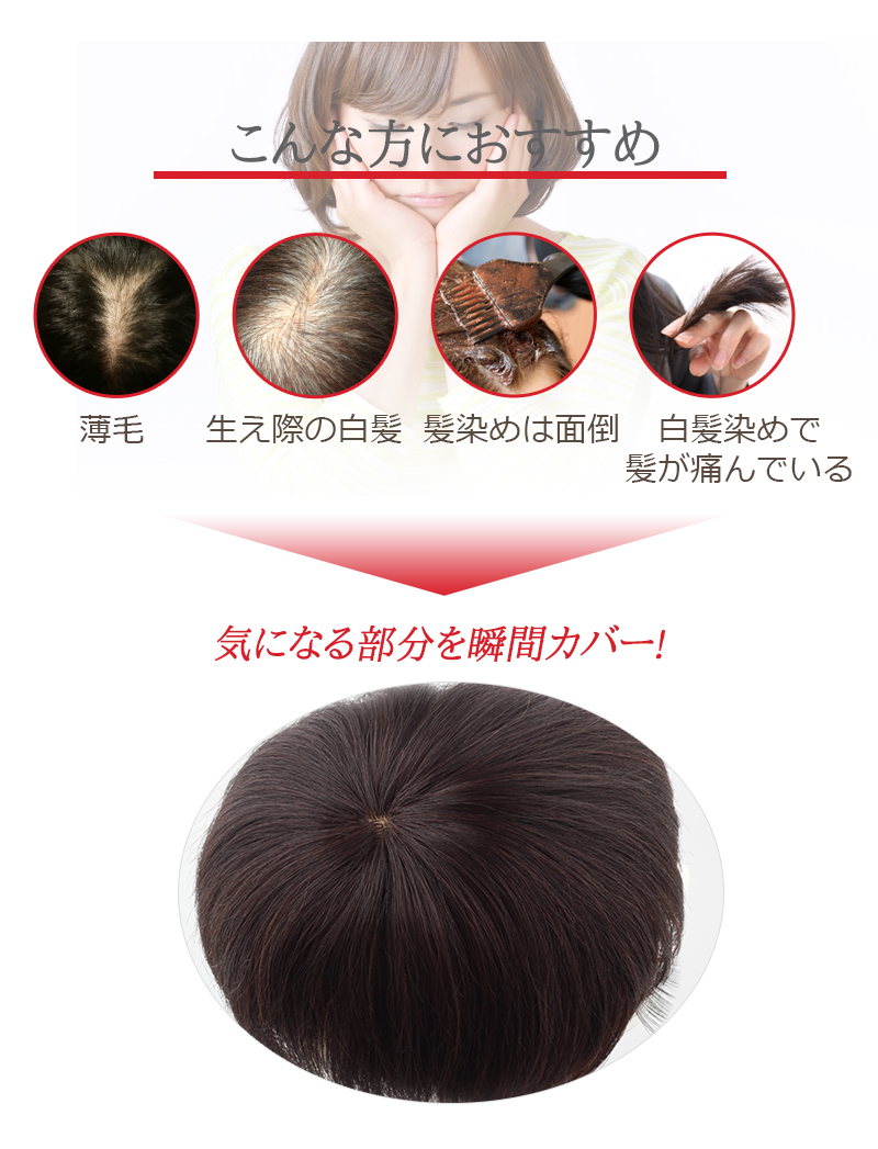 人毛100% 部分ウィッグ 人毛 ウィッグ かつら ポイントウィッグ 白髪かくし つけ毛 私元気 BAD1516[10676]