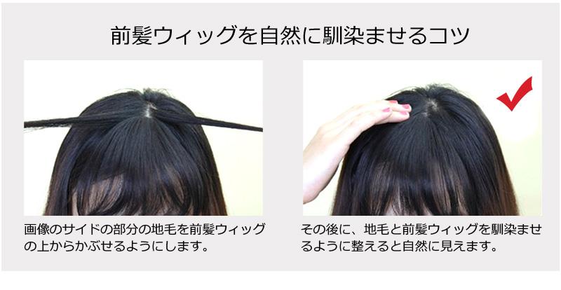人毛100% 前髪ウィッグ 人毛前髪 シースルーバング 部分ウィッグ 私元気 F01 [10480]
