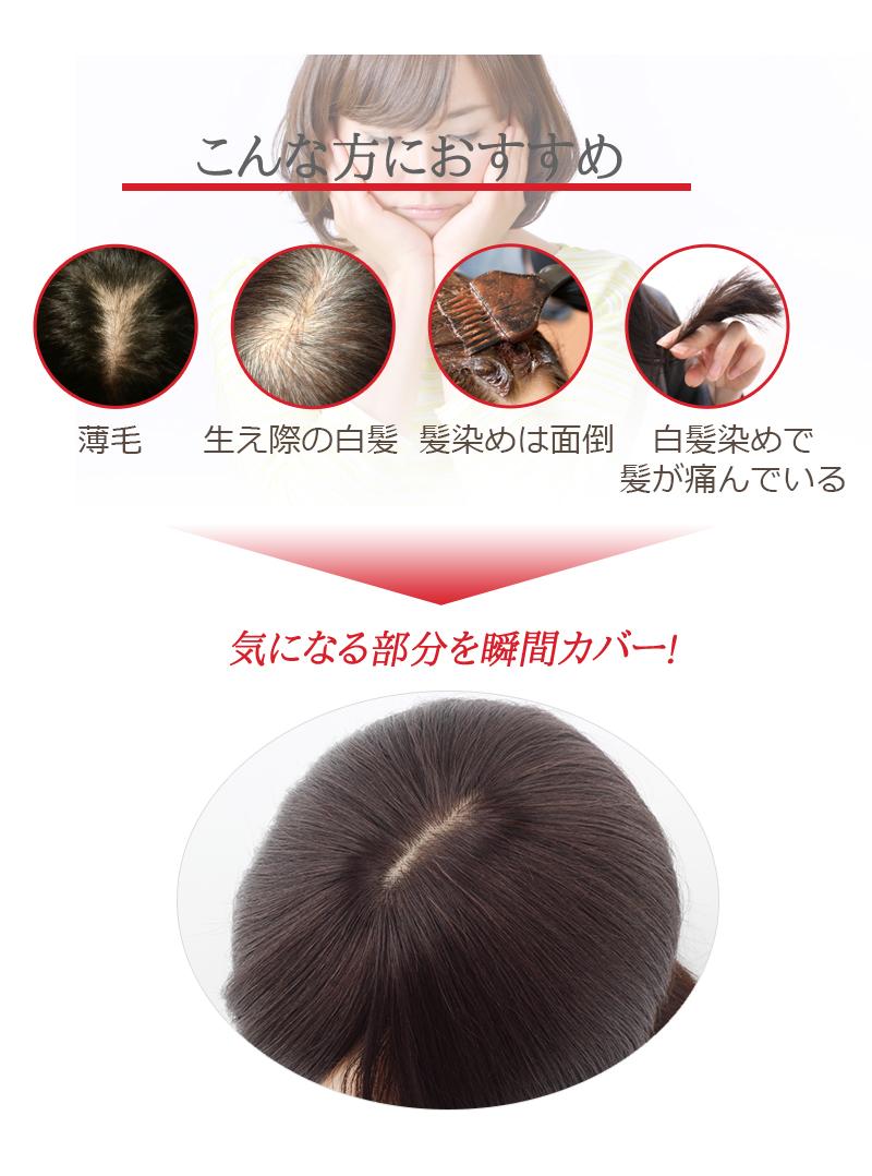 人毛100% 部分ウィッグ 前髪ウィッグ 人毛 ウィッグ かつら ポイントウィッグ 白髪かくし つけ毛 ロング 私元気 BAX911-30[10682]