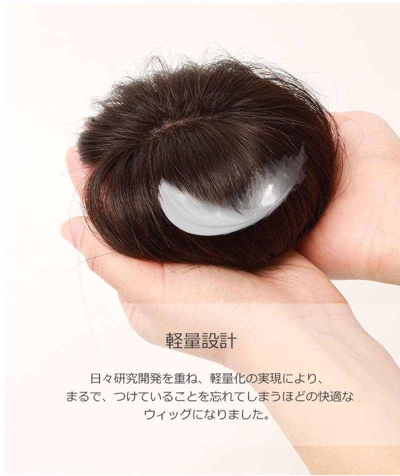 人毛100% 前髪ウィッグ 35cm 部分かつら ポイントウィッグ 白髪かくし つけ毛 私元気 BAZF710-35[10692]