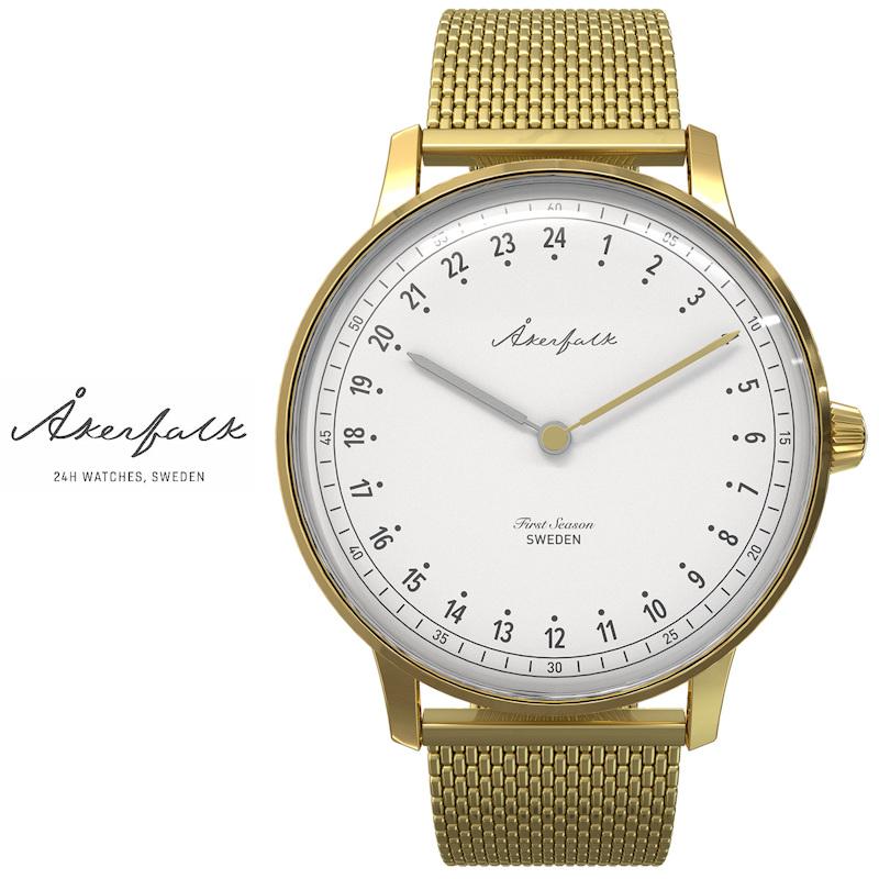 スウェーデン Åkerfalk オーカーフォーク 24時間表示 腕時計 ゴールド AK-122 白文字盤 北欧デザインウォッチ 60年代ヴィンテージ レザーケース付 日本正規販売店