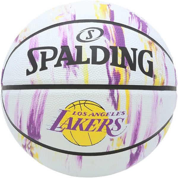 スポルディング 女性用 バスケットボール 6号 NBAロサンゼルス レイカーズ マーブル ホワイト バスケ 84-311J ゴム 外用ラバー SPALDING