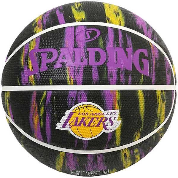 スポルディング ミニバス バスケットボール 5号 NBAロサンゼルス レイカーズ マーブル ブラック バスケ 84-303J 小学校 子供用 ゴム 外用ラバー SPALDING