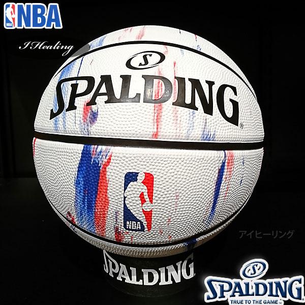 SPALDING バスケットボール7号 NBAロゴ マーブル 大理石柄 ラバー スポルディング83-934J