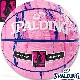 SPALDING 女性用バスケットボール6号 フォーハー マーブル ピンク ネイビー 大理石柄 ラバー スポルディング83-877Z