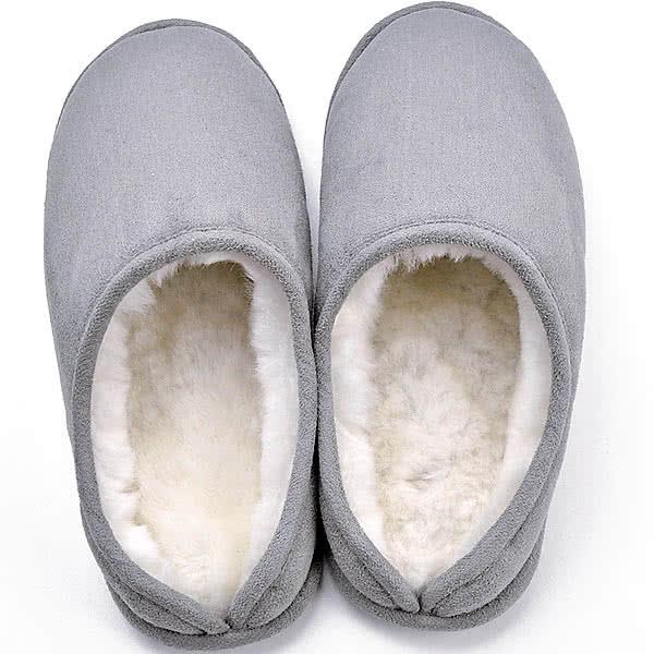 足ふわふわ あたたかスリッパ シルバーグレー 室内用 内側ウール 中底シンサレート綿