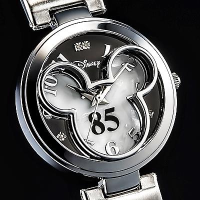 ミッキー85周年記念フェイスウォッチ 天然ダイヤモンド腕時計 ホワイト