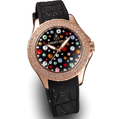 ラッキーベル スターリーヘブンズ イタリア腕時計 ピンクゴールド ブラック